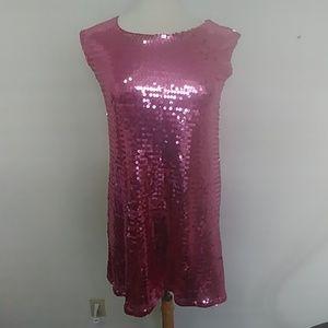 Isaac Mizrahi pink sequin shift dress XS